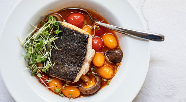 Seared Sablefish (Black Cod) in Tomato and Saffron Broth with Pan Softened Mushrooms and Tomatoes Recipe