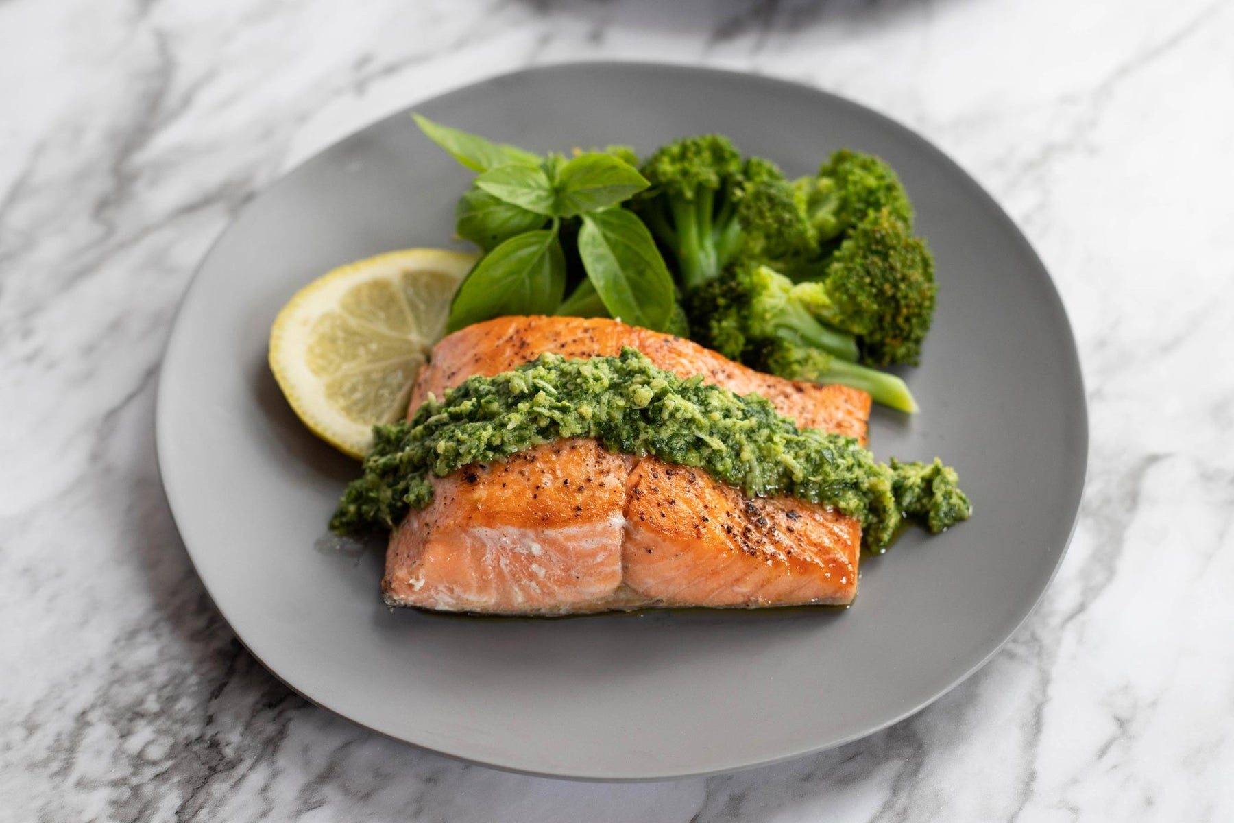 Seared Coho Salmon with Mixed Herb Pesto Recipe