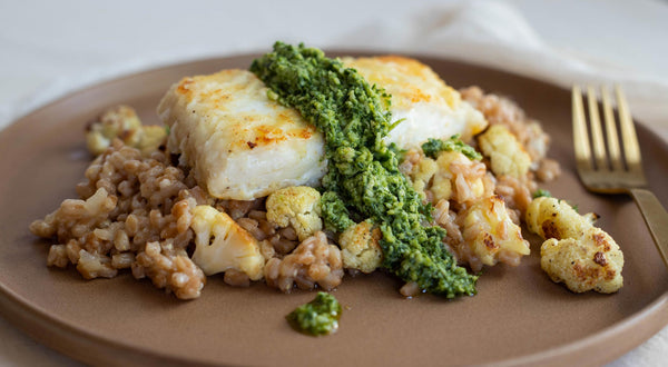Halibut with Farro Risotto, Roasted Cauliflower, and Pesto Recipe