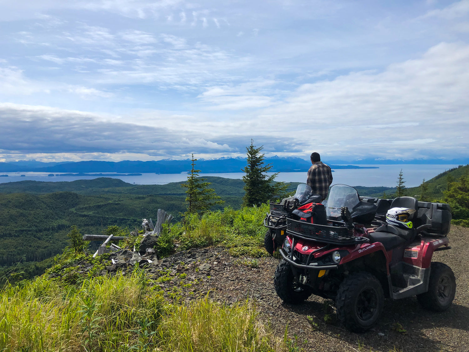 A lunch break at KKCFP perched atop the northern end of Kupreanof Island with a view of Frederick Sound. Photo by Talia Davis.