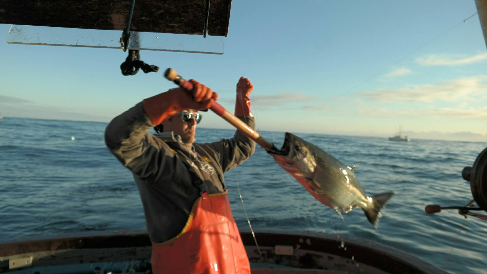 Jeff, catching salmon