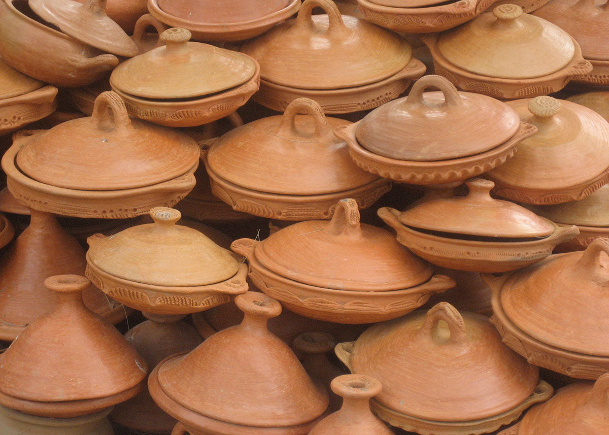 Tajines are clay cooking dishes commonly used in Moroccan cooking.