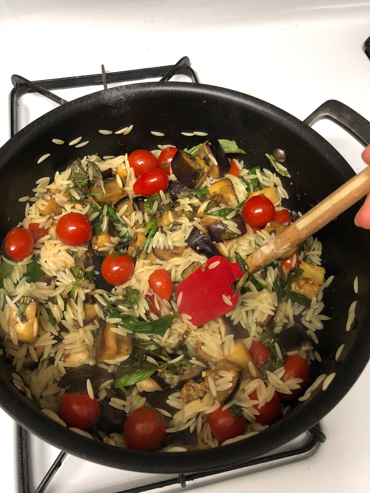 Eggplant with tomatoes and orzo in pan