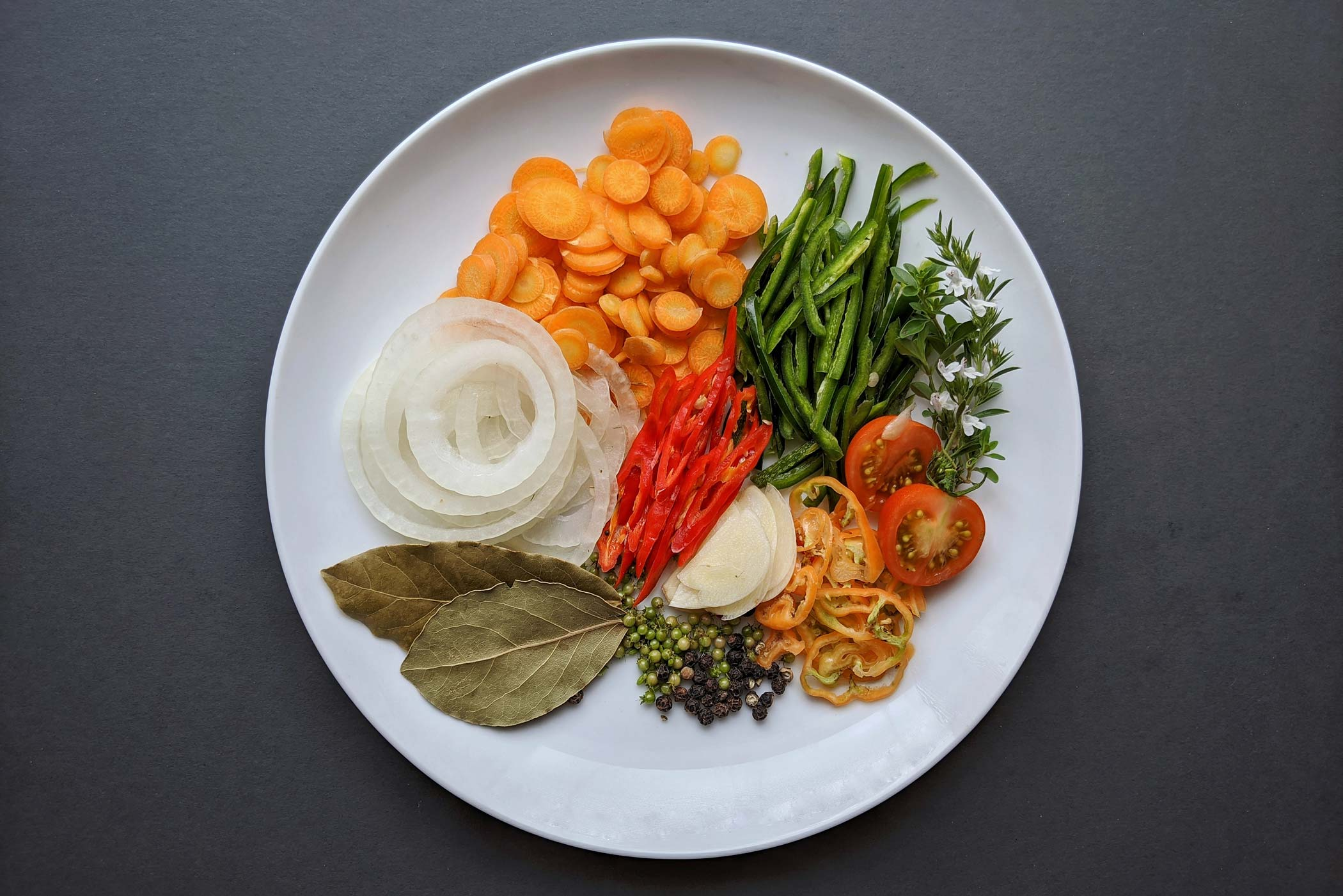 Fresh vegetables and spices on plate