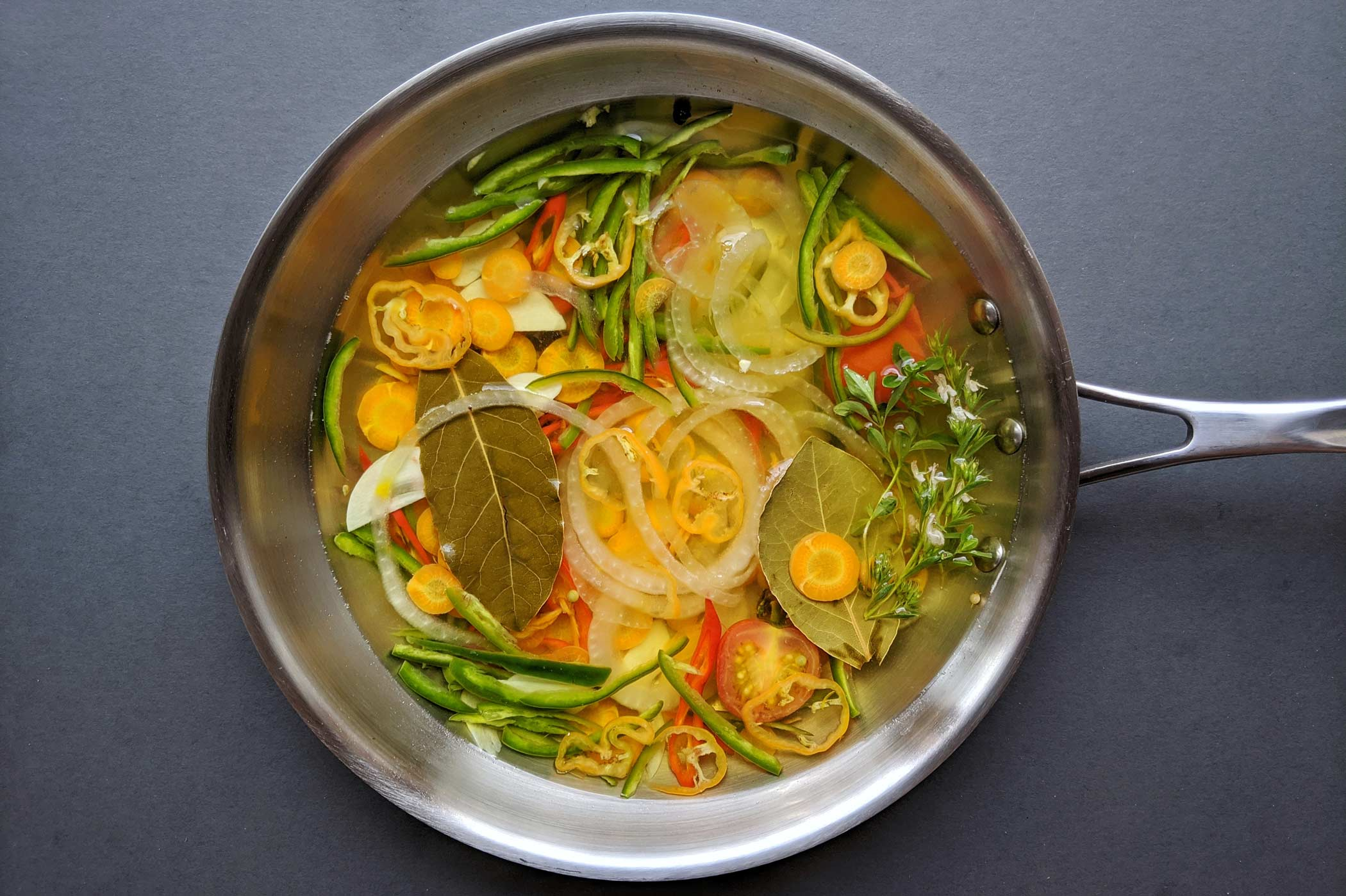 Vegetables and sauce in fry pan