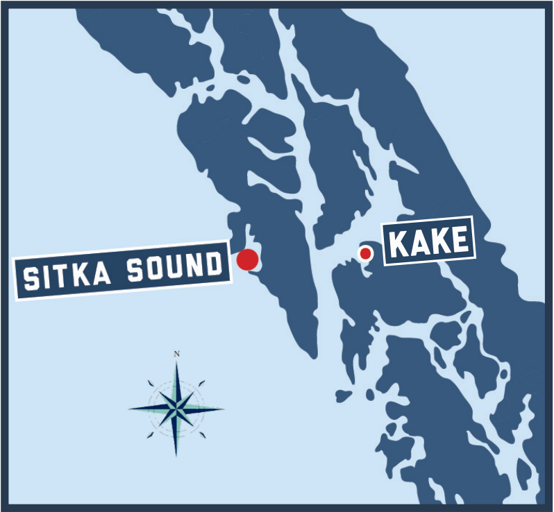 Map featuring Sitka Sound and Kake
