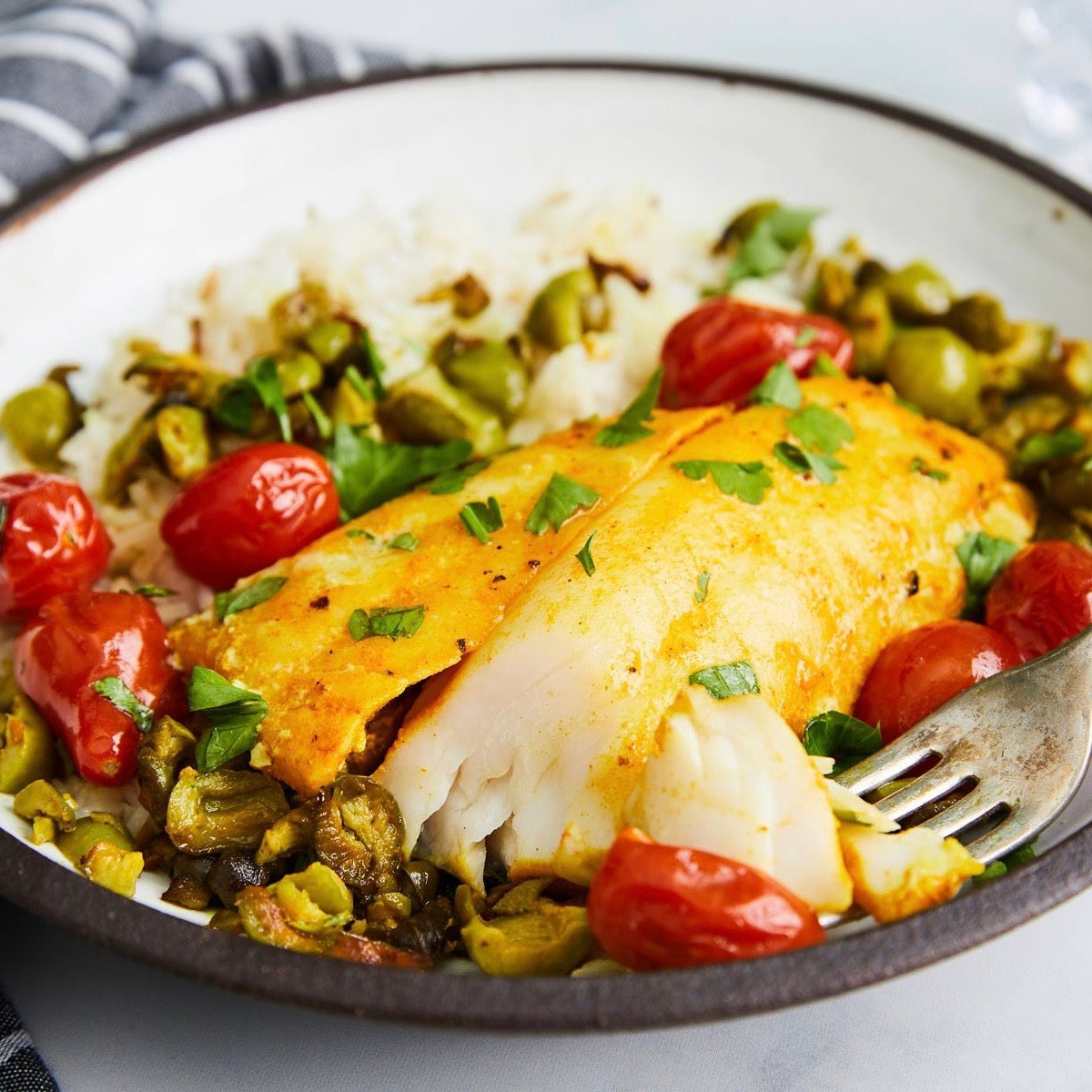 Turmeric Sablefish with Tomatoes and Capers