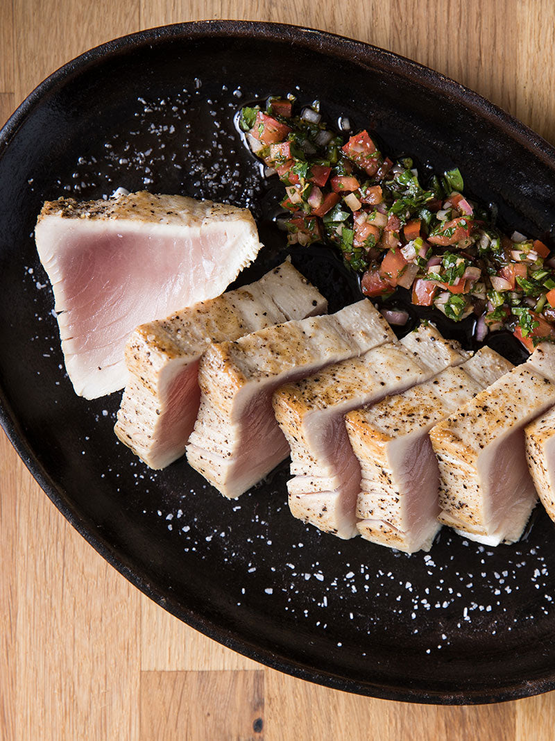 Seared Albacore Tuna with Chimichurri Rojo Recipe | Sitka Salmon Shares