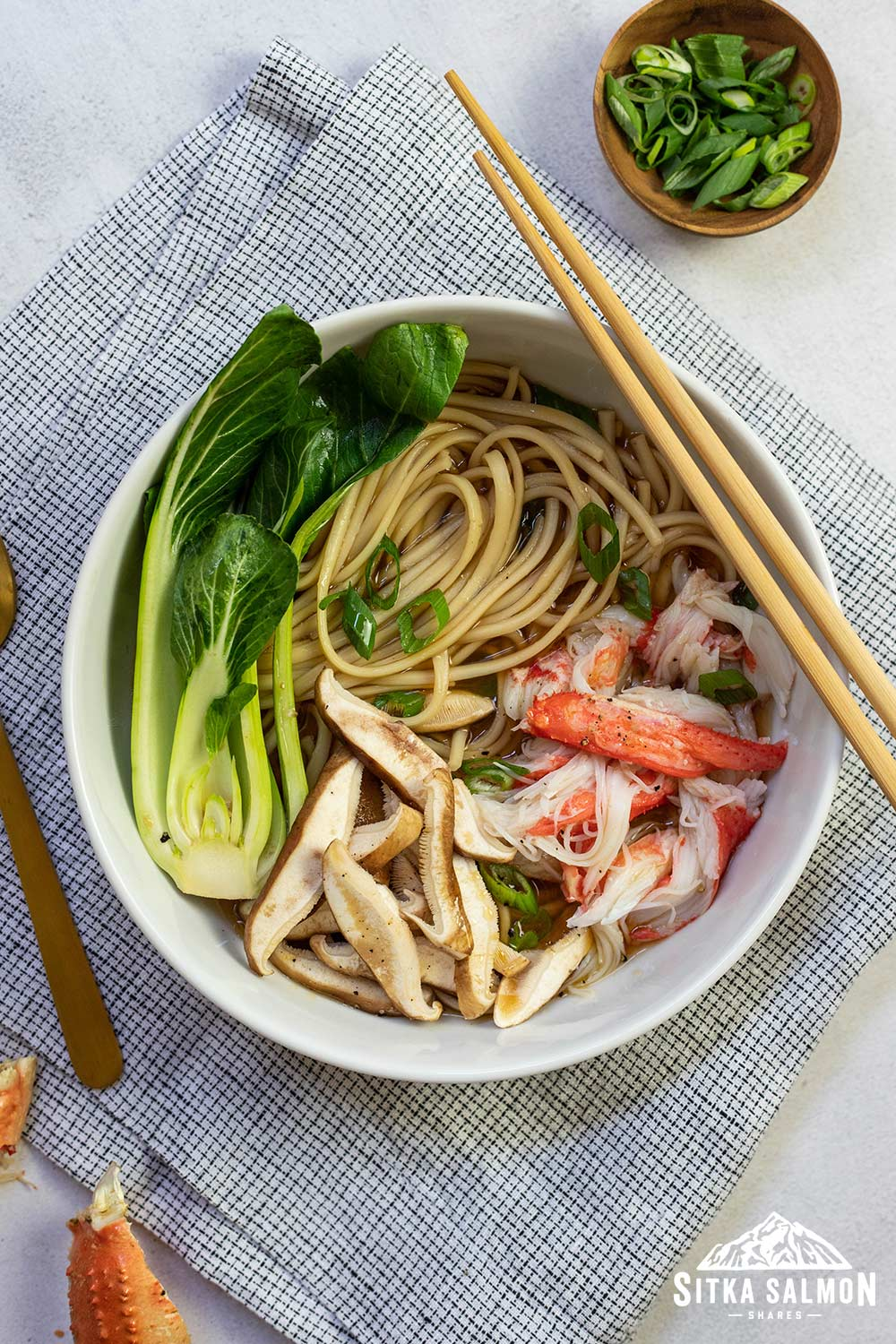Udon with Bok Choy and Crab Recipe | Sitka Salmon Shares