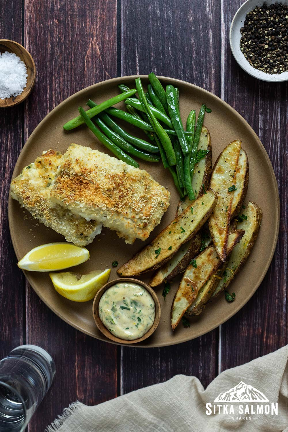 Oven-Fried Fish and Chips with Roasted Green Beans and Dijon Remoulade Recipe | Sitka Salmon Shares