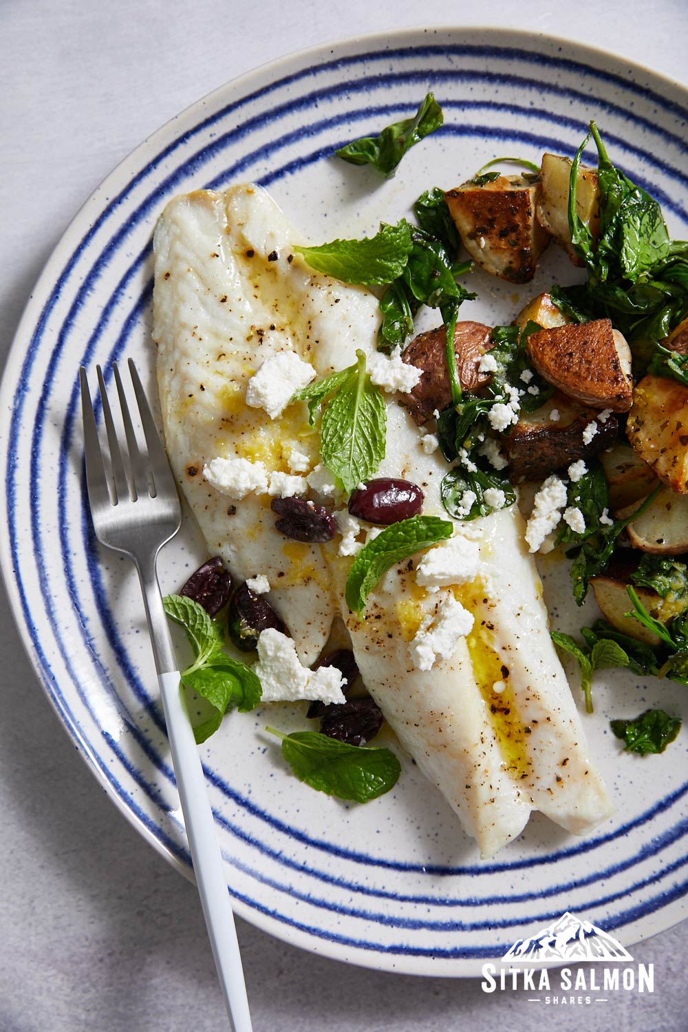 Broiled Rockfish with Lemony Potatoes, Olives, and Mint Recipe | Sitka Salmon Shares