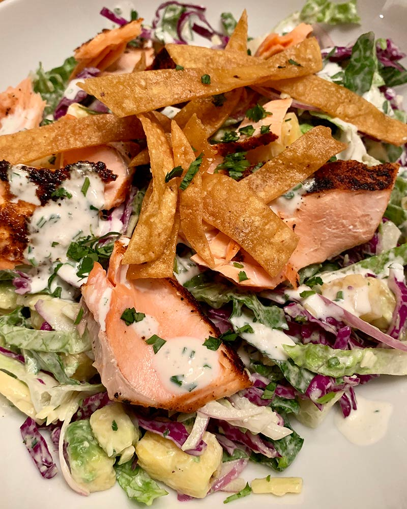 Cali Coast Salad with Grill-Blackened Salmon Recipe | Sitka Salmon Shares