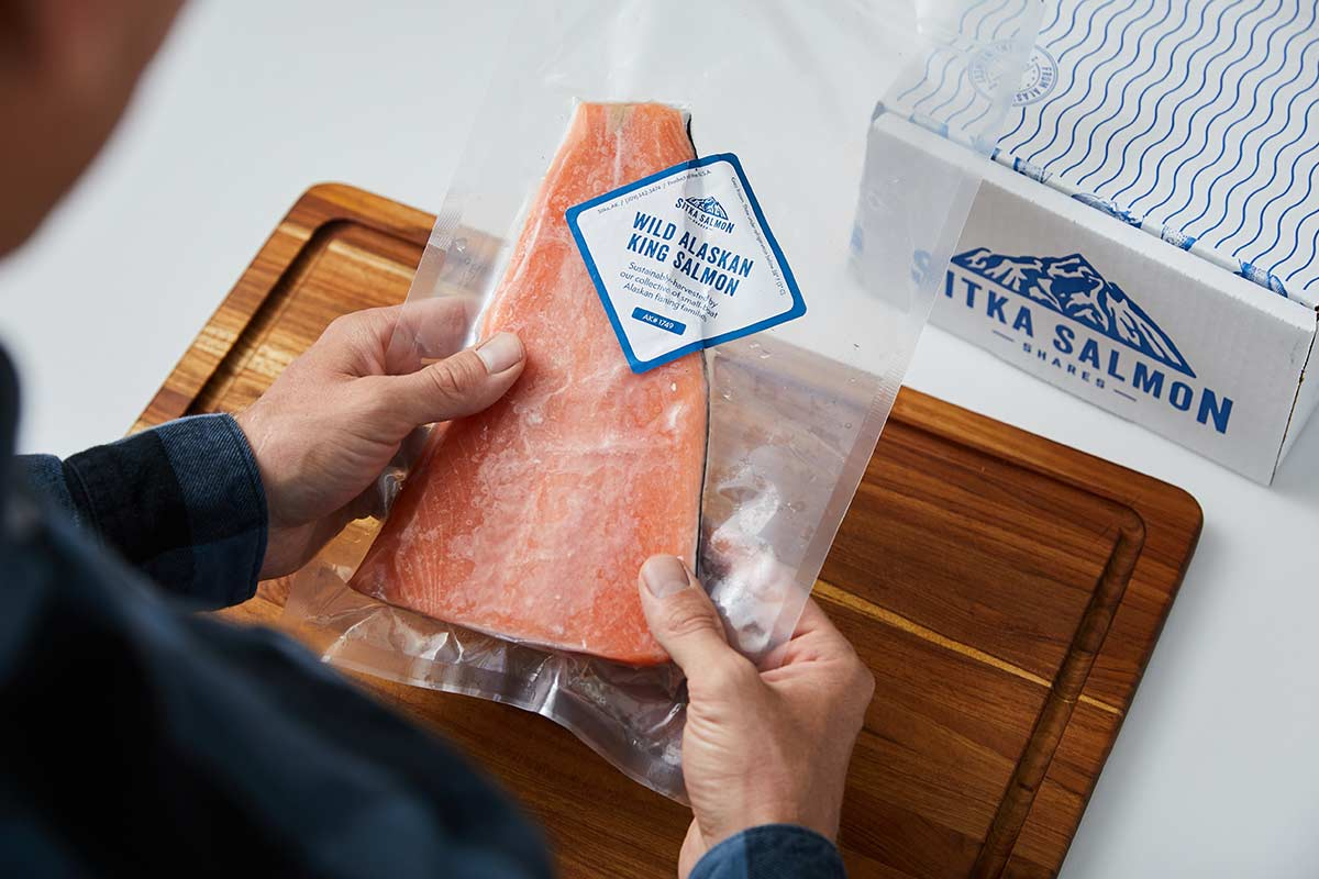 Vacuum-sealed package of king salmon