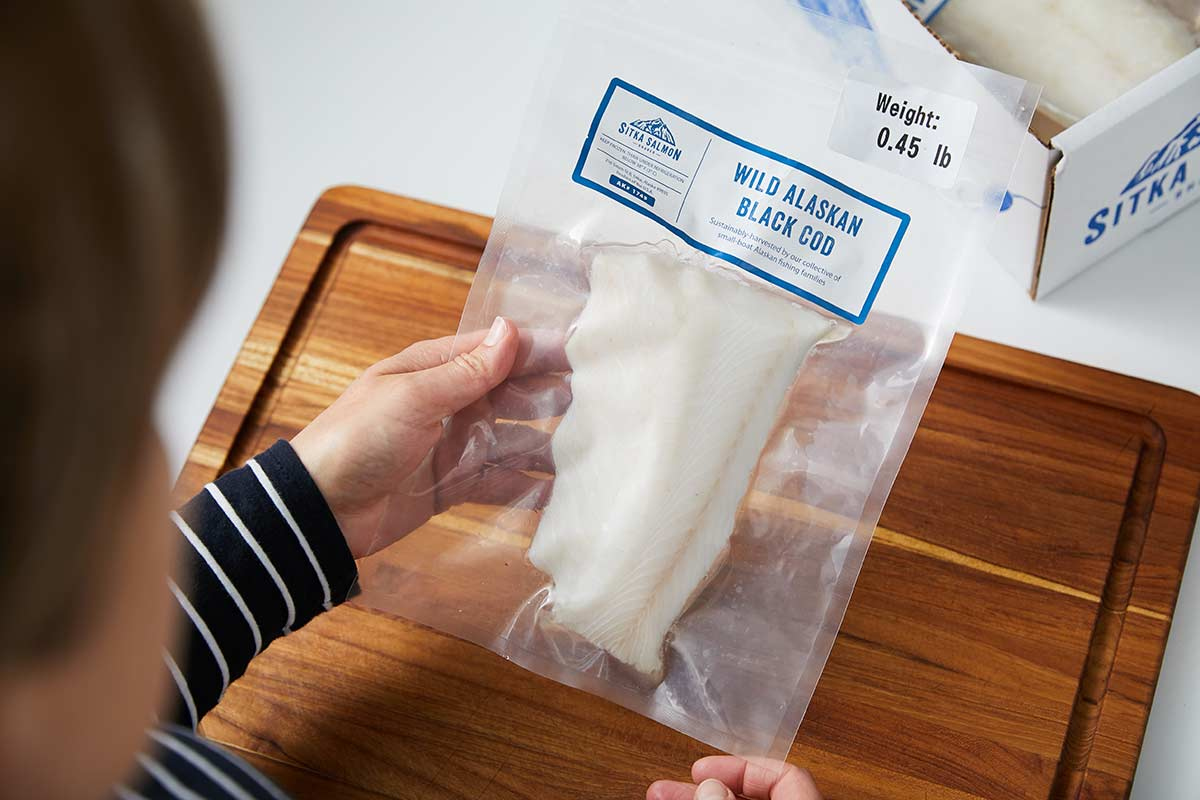 Vacuum-sealed package of sablefish (black cod)
