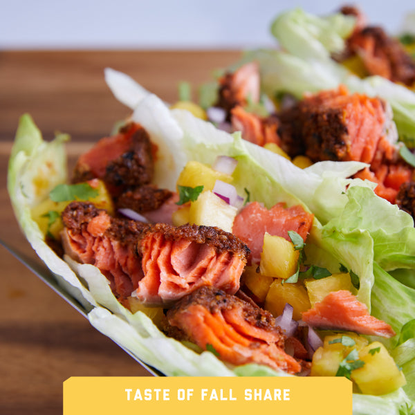 Ancho Chile Salmon in Lettuce Tacos