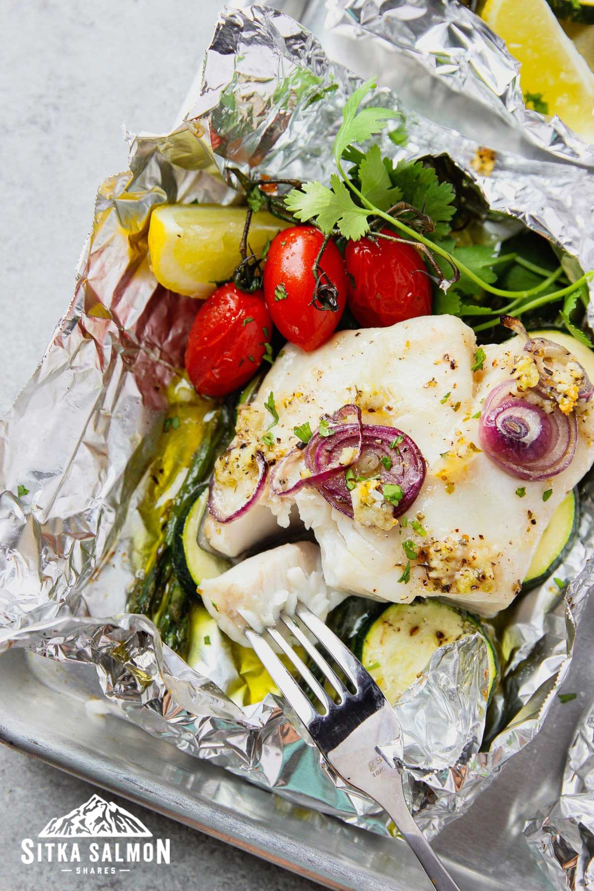 Baked Fish-In-Foil with Vegetables Recipe | Sitka Salmon Shares