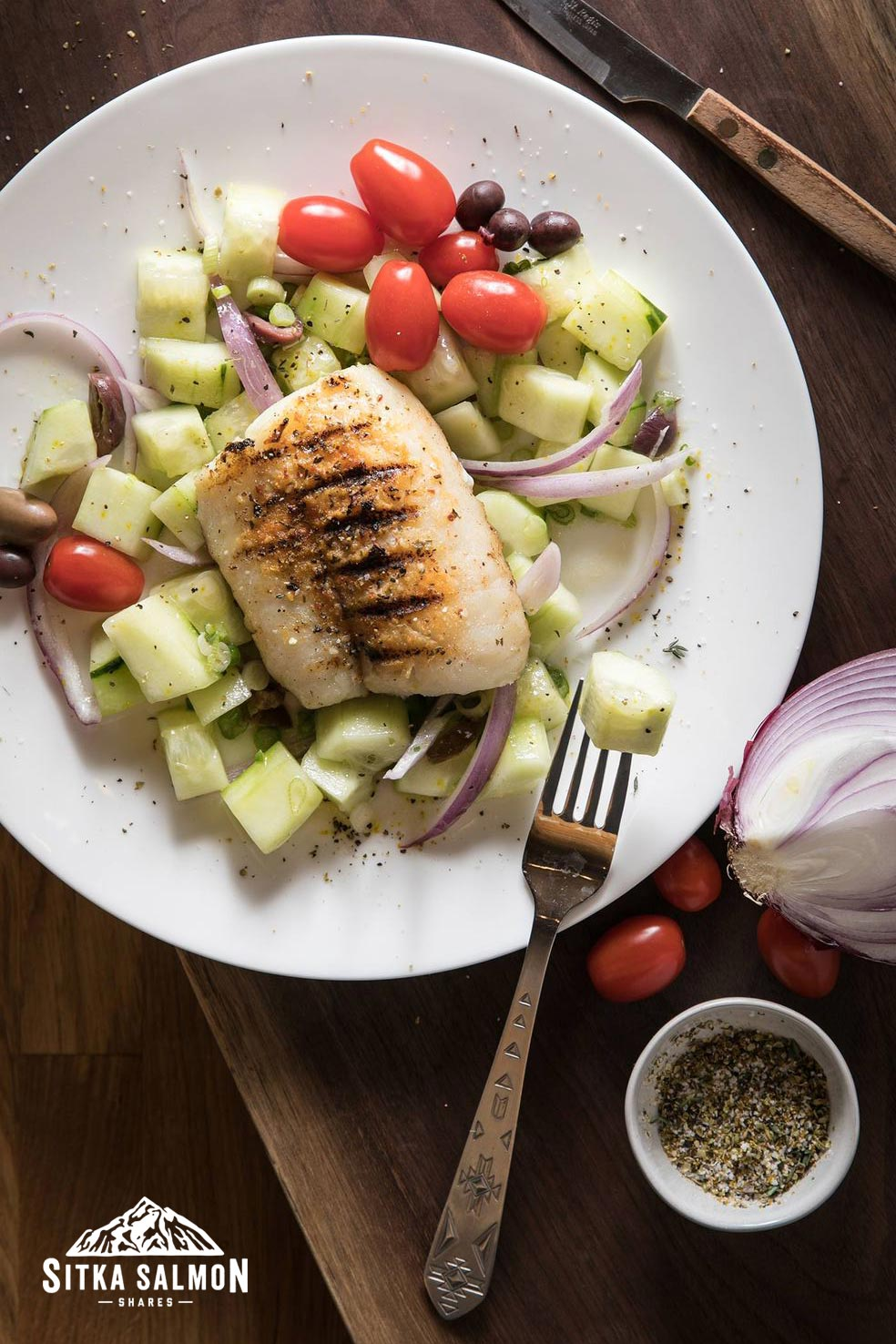 Greek Grilled Pacific Cod with Cucumber Salad Recipe | Sitka Salmon Shares