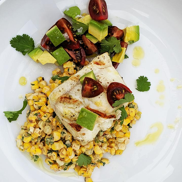 Grilled Halibut with Elotes Salad