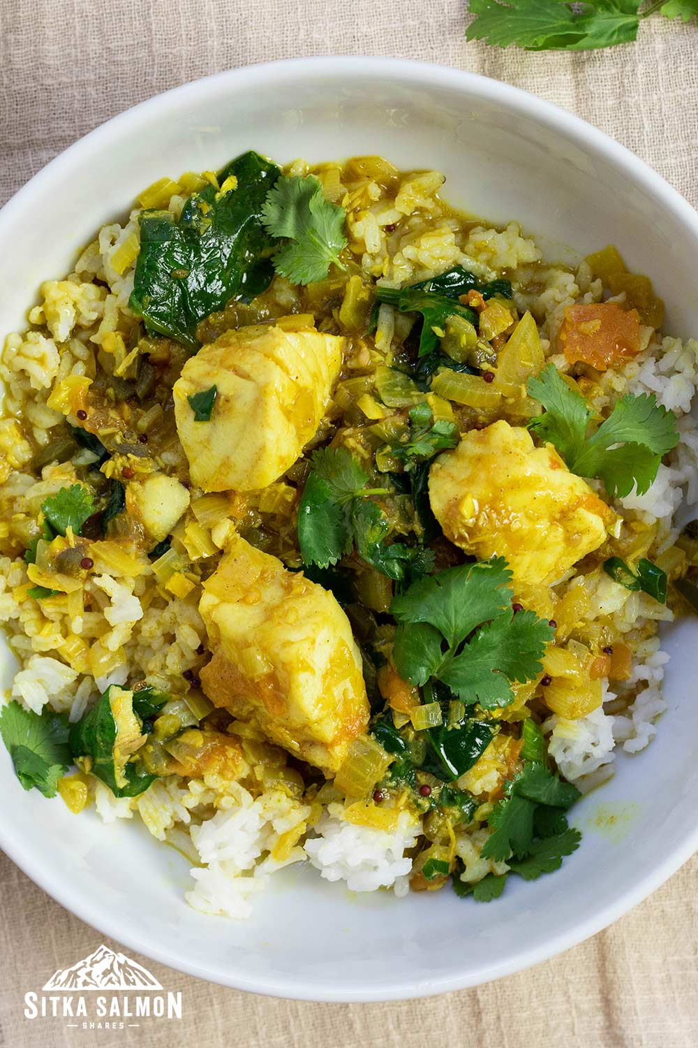 Kerala-Style Coconut Fish Curry with Tomatoes and Spinach Recipe | Sitka Salmon Shares