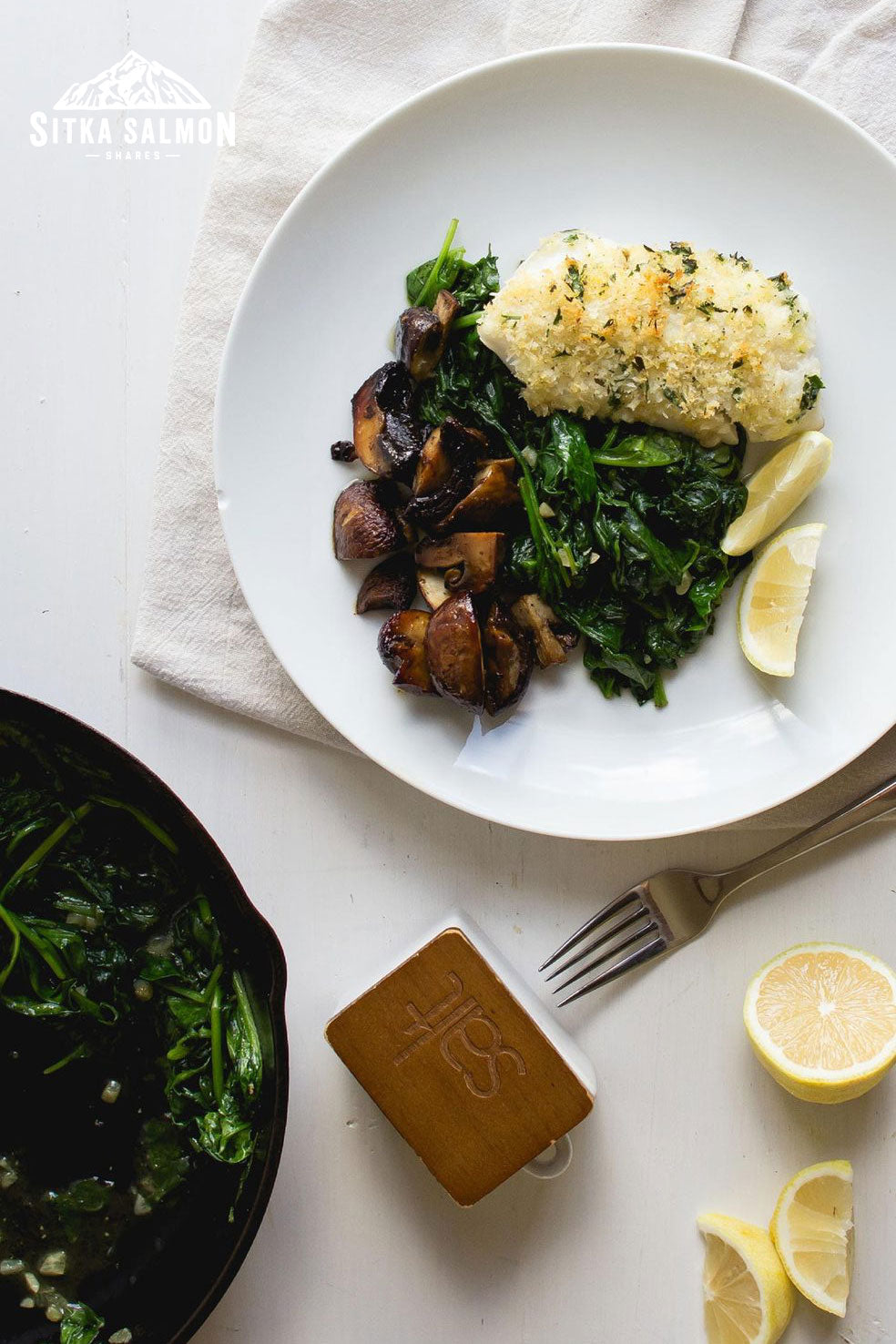 Panko-Crusted Pacific Cod with Spinach & Mushrooms Recipe | Sitka Salmon Shares