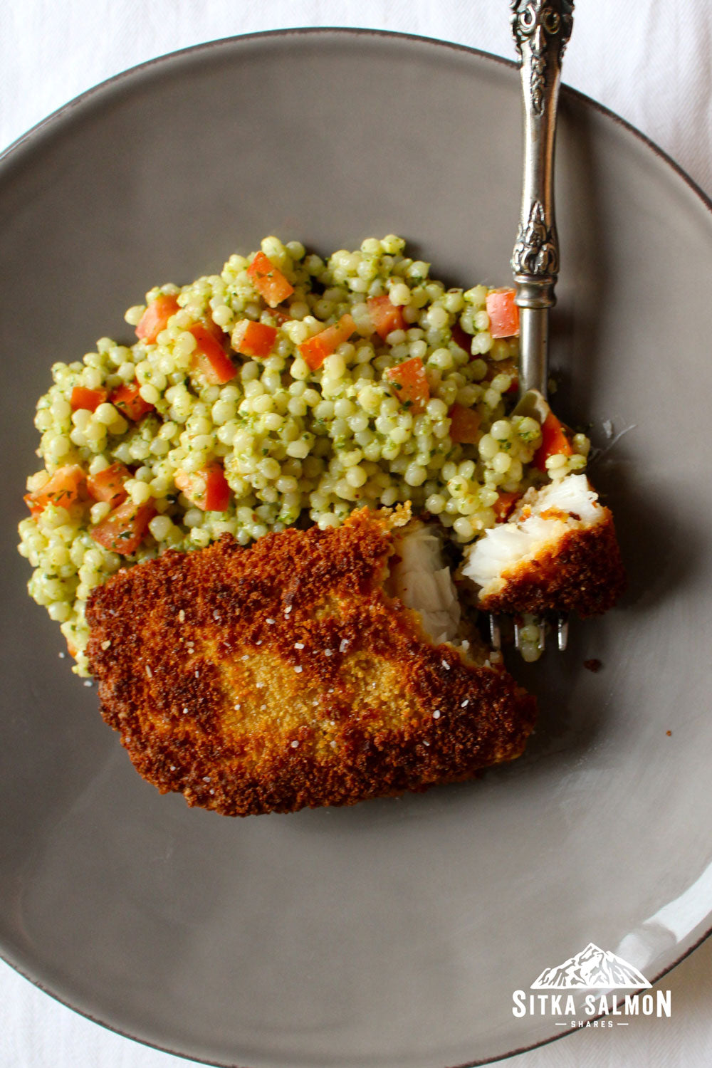 Panko-Crusted Rockfish with Israeli Couscous Salad Recipe | Sitka Salmon Shares