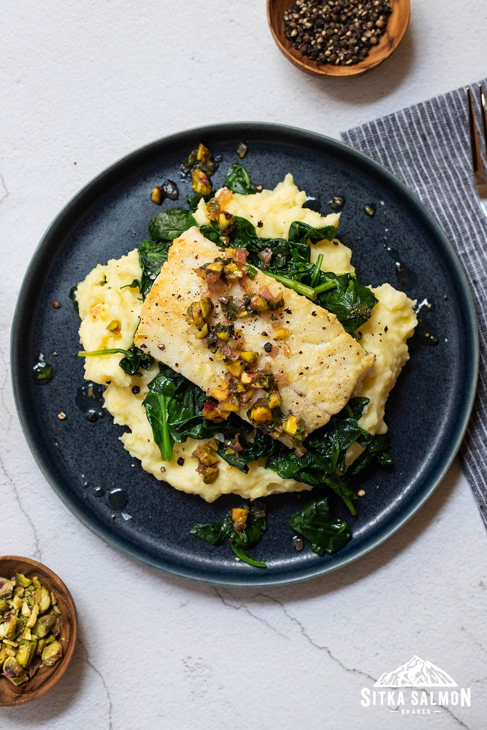 Pan-Seared Lingcod with Pistachios and Brown Butter Recipe | Sitka Salmon Shares
