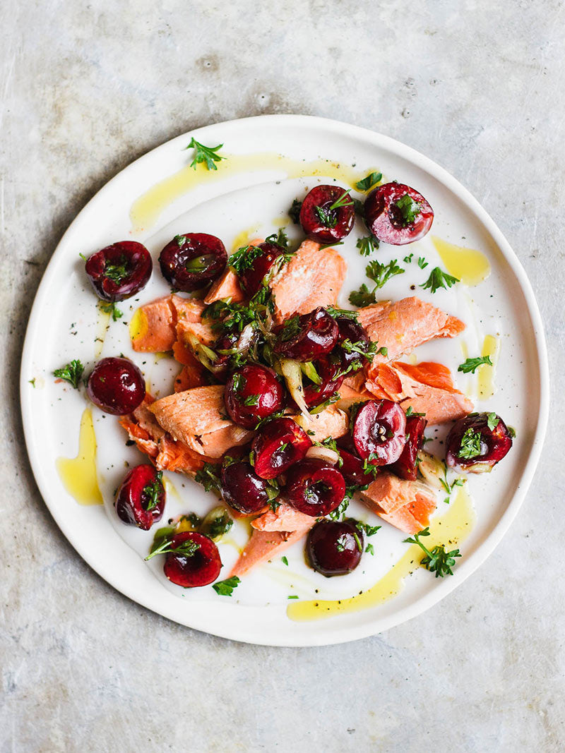 Poached Salmon with Savory Cherry Salad Recipe | Sitka Salmon Shares