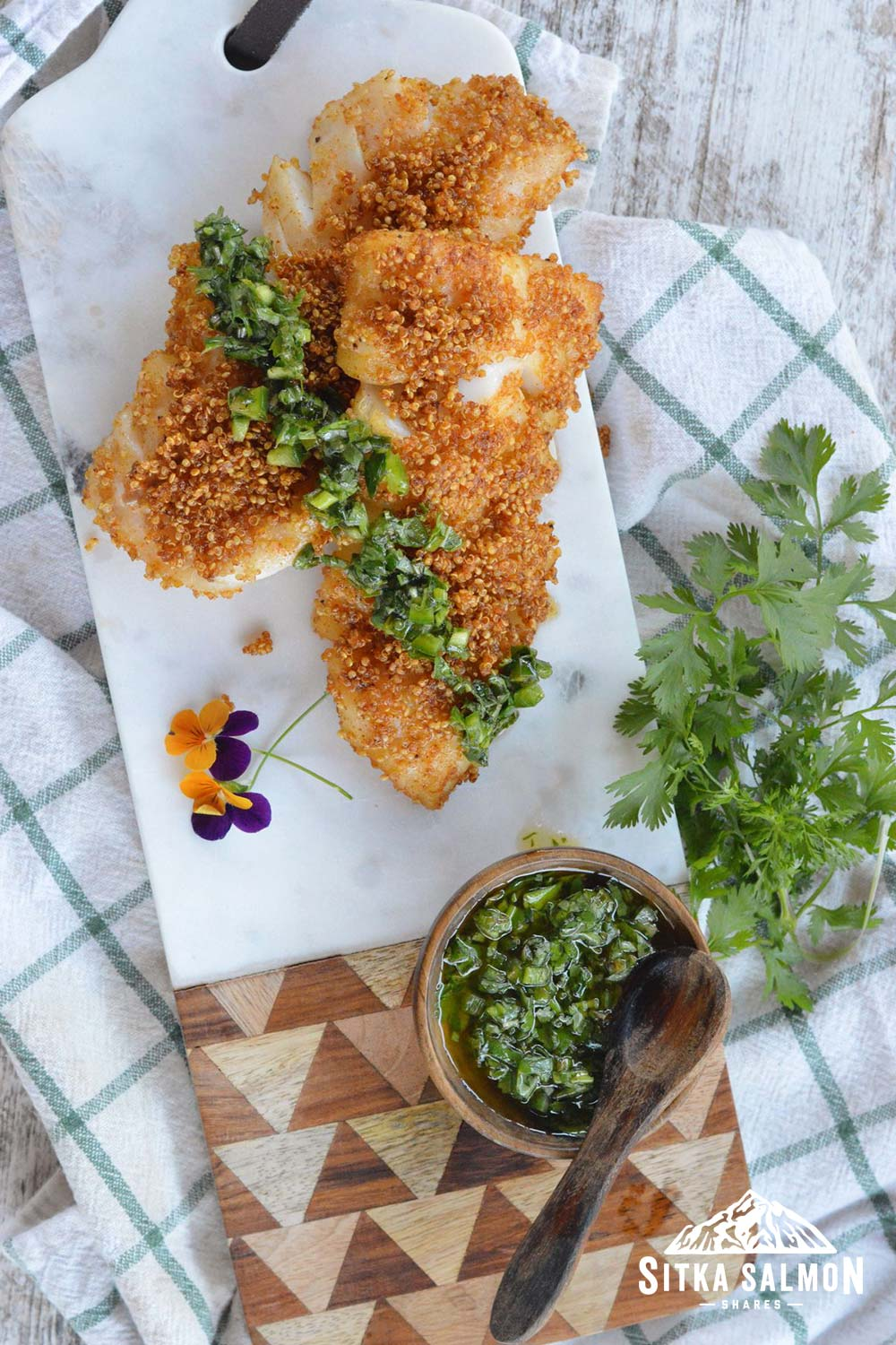 Quinoa Crusted Pacific Cod with Mojo Verde Recipe | Sitka Salmon Shares