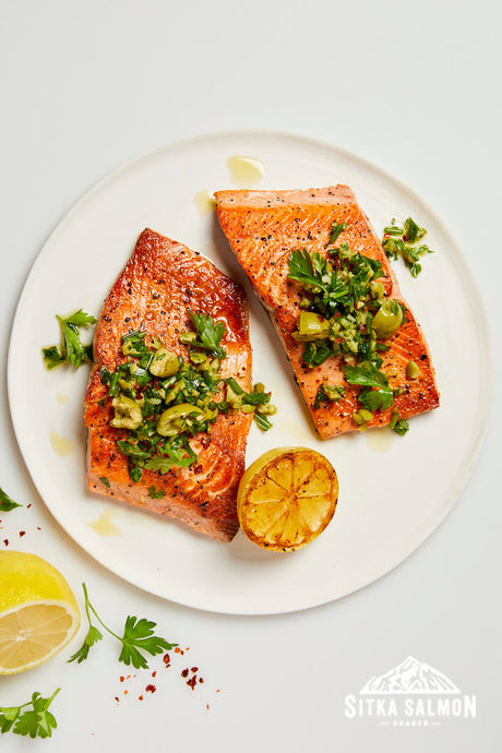 Seared Salmon with Green Olive Salsa Verde Recipe | Sitka Salmon Shares