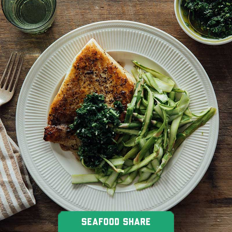 Sautéed Brown Butter Halibut and Citrus Herb Gremolata with Shaved Asparagus Salad