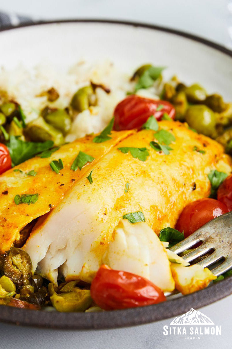 Turmeric Sablefish (Black Cod) with Tomatoes & Capers Recipe   Sitka Salmon Shares