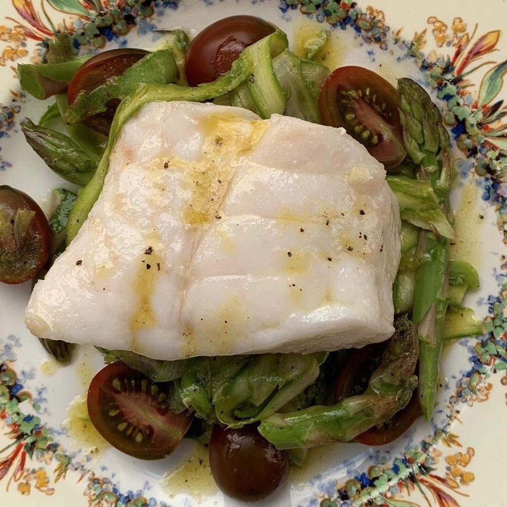 Olive Oil Poached Yelloweye with Shaved Asparagus Salad