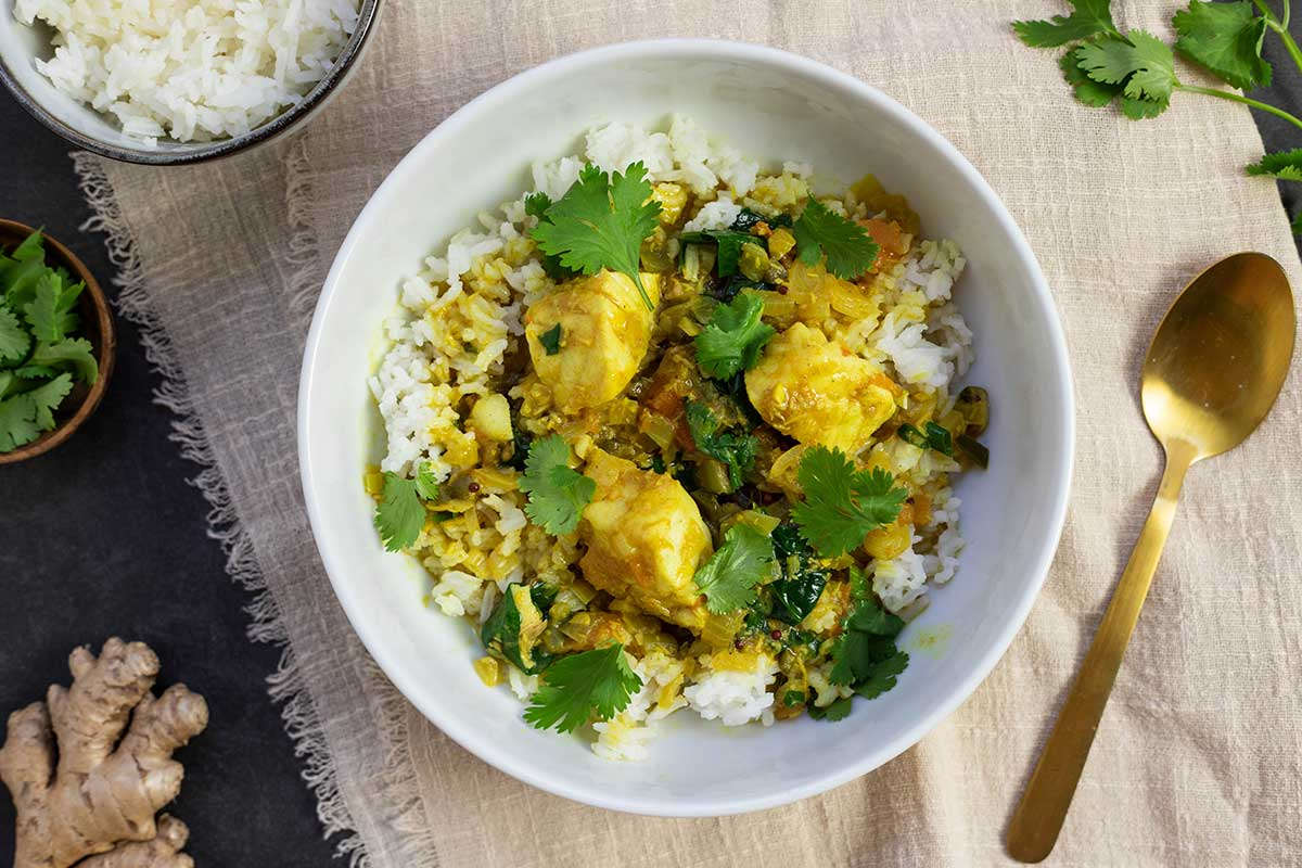 Kerala style coconut fish curry