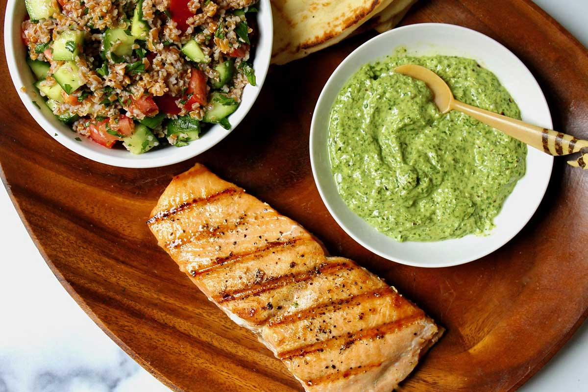 Grilled salmon with tabbouleh and fresh green harissa