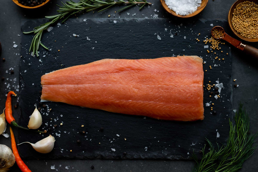 A tail cut portion of wild-caught coho salmon