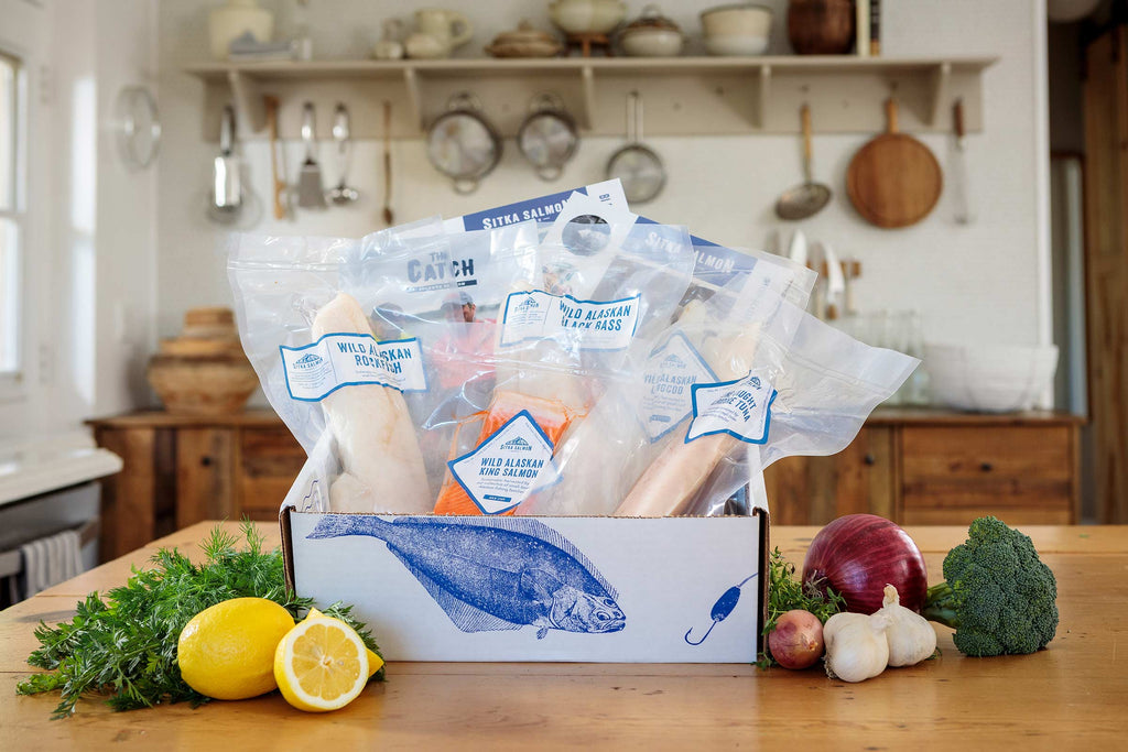 A 4.5–5 pound share box full of premium wild seafood, recipes, and fishermen stories