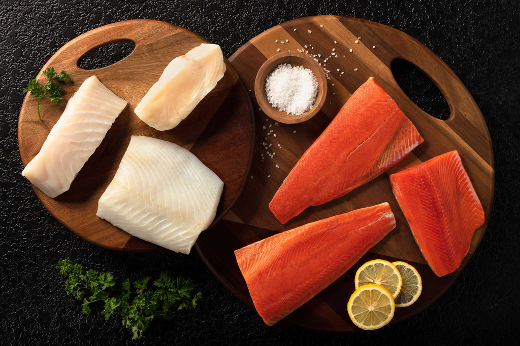 Premium Seafood Subscription Box delivery of halibut and sockeye portions