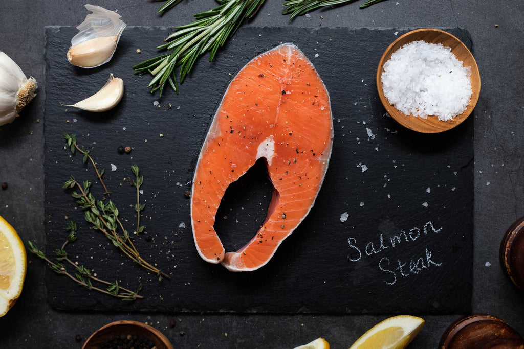 A delicious-looking portion of king salmon steak cut