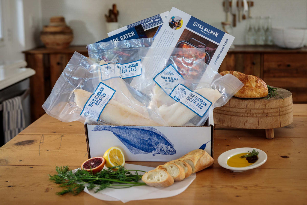 A 4.5–5 pound share box full of wild white fish, recipes, and fishermen stories