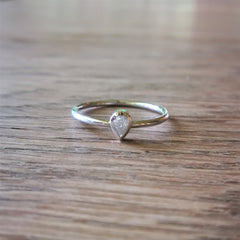 Pear cut moissanite stack ring
