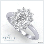 Taurus oval halo cluster moissanite ring