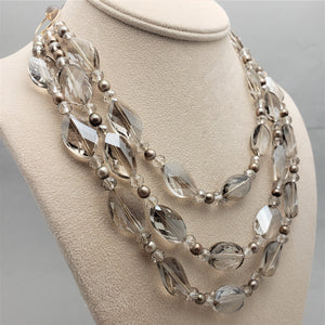 Multi Strand Crystal and Pearl Necklace