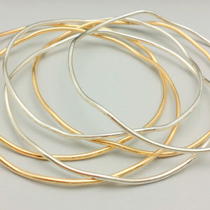 Wavy Bangles - Sterling Silver