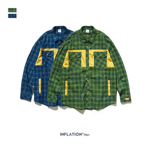 INF | Checked Letter Print Shirt
