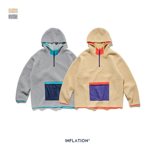INF | Contrast Color Pocket Hooded Sweater
