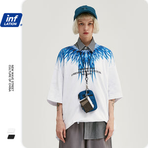 INF | Wings print loose short T-shirt