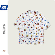 Load image into Gallery viewer, INF | 《Blue&White Bacchus》Full beer print loose Shirt