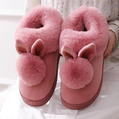 Fluffy Bunny Ear Slippers