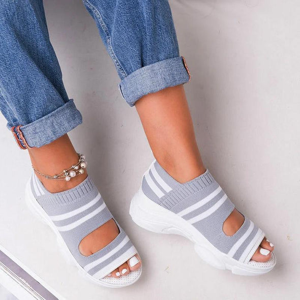 Woven Wedge Toe Sandals