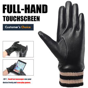 LadyCare Leather Gloves For women, Winter Warm Cashmere Gloves